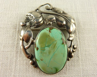 Antique Victorian Sterling Turquoise Brooch