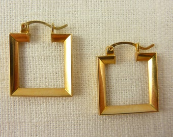 Vintage 14K Gold Square Earrings