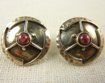 Vintage Sterling and Garnet Modern Earrings