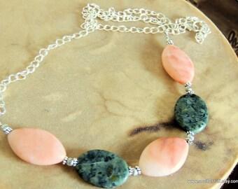 Jasper Bib Necklace, Orange Calcite and Jasper, Green and Orange, Spring Jewelry, Handcrafted Jewelry, Boho Chic, Gemstone Jewelry