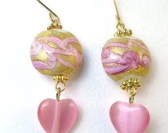 Pink Cats Eye heart earrings Breast Cancer Support pink puff lampwork beaded earrings survivor support holiday earrings pink earrings