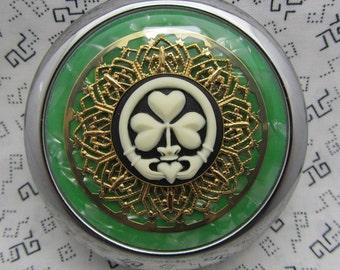 Claddagh Shamrock Compact Mirror St Patricks Day Green Compact Mirror Irish Shamrock Mirror Three Leaf Clover