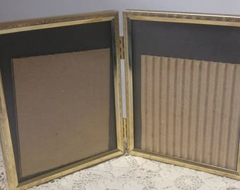 sale double picture frames hinged brass metal retro art craft b559 - Double Picture Frames