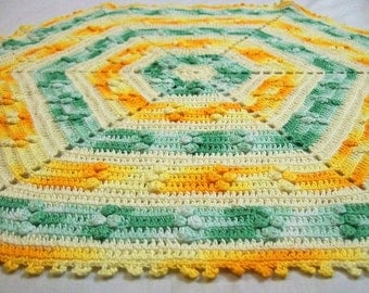 Vintage Doily, Hand Crocheted Doily, Crochet Doily, Orange Green Yellow