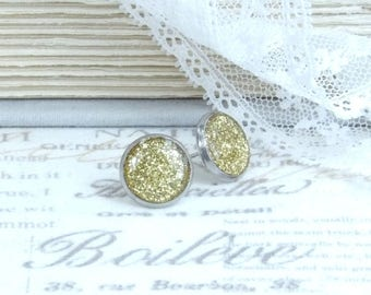 Gold Glitter Studs Clearance Earrings Gold Glitter Earrings Clearance Sale Surgical Steel