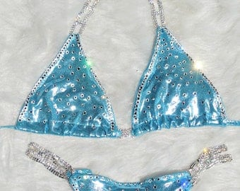Baby Blue Ice Blue Crystal sexy fitness competition bikini with rhinestone connectors NPC WBFF INBF posing suit