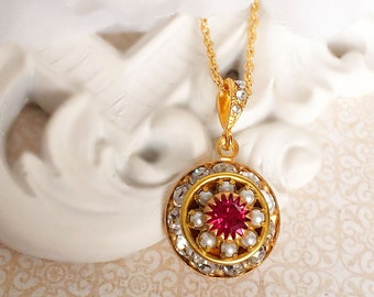 Crystal Necklace - Pink - Victorian Necklace - Rhinestone - AURORA Fuschia