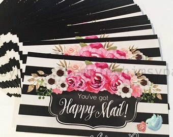 Happy Mail Stickers, Black Stripe Floral Edition