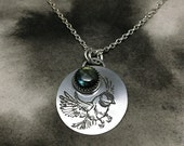 Winter Birds etched sterling silver and labradorite chickadee pendant
