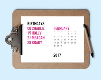 Printable 2017 Calendar   Birthday Calendar   Download U0026 Print Calendar   Perpetual  Calendar   Editable
