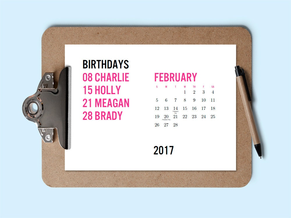 Printable 2017 Calendar Birthday Calendar Download & Print