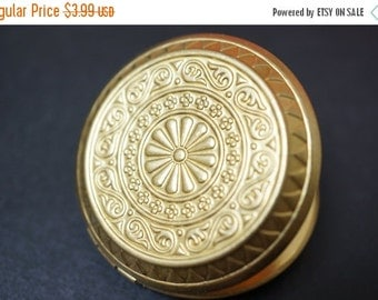 DECEMBER SALE Stunning Double Sided Vintage Extra Large Raw Brass Round Flat Floral Locket - 43mm - 1 piece