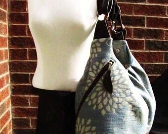 Blue floral canvas bag with leather straps base,blue diaper bag, transformable messenger bag, backpack, shoulder bag in super sized