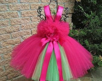 RASPBERRY AND LIME.  Tutu Dress.  Pink and Green Dress.  Flower Girl Gown.  Birthday Tutu Dress.  Hot Pink Tutu Dress.  Pageant Dress.