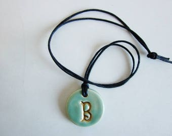 Charm Necklace - Porcelain pendant with gold initial - handmade monogram  pendant -