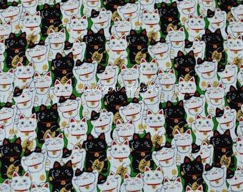 Japanese Fabric Cat Manekineko Green by the Half Yard