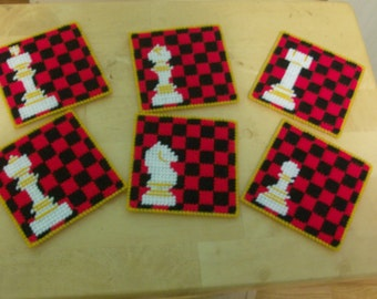 Chess set Coasters, Set of 6 Chess Coasters, Plastic Canvas Chess Coasters