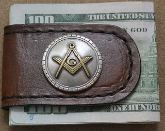 Handcrafted Brown Leather Money Clip Mason