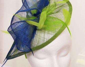Blue green fascinator derby fascinator hat GREEN COMET
