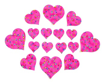 Pink Hearts Fusible Iron-on Appliques, Set of SIXTEEN Small, Medium, and Large, Pink with bright polka dots