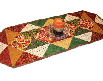 Autumn Leaves Quilted Table Runner, Thanksgiving Decor, Fall Table Runner Quilt, Green Brown table decor, Quiltsy Handmade Triangle Runner