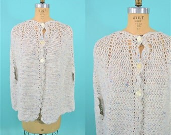 1960s sweater cape | 60s hand knit cape | vintage speckled crochet sweater S