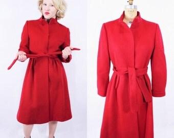 WINTER SALE / 1980s coat vintage 80s cherry red wool Forstmann winter coat S/M