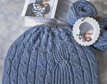 "Mens Hat Knitting Kit with quality yarn and pattern- Bartek (light blue ""denim"" color)"