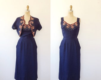 Moygashel dress / 1950s dress / St. George linen dress