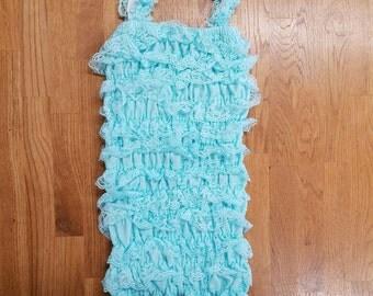 SALE - Light Aqua Petti Romper - Aqua Romper - Light Aqua Pettiromper - Baby Lace Romper - Cake Smash Outfit - Birthday Outfit, 24mos-3yrs