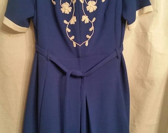 Cutest vintage dress, 50s-60s, royal blue and white, embellished,  handmade, 44 XL size