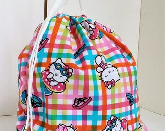 Hello Kitty Kat Beach Pool Bag with Draw cord, Embroidered with Child's Name, Personalized,