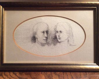 A.B. Jackson pen and ink portrait sketch, framed 8x12, possibly sketch of his parents, Signed