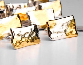 Silver and Gold Cufflinks, Contemporary Cufflinks, Hammered Sterling Silver and 24k Gold Cufflinks, Gift for Him, Unisex Gift, Wedding Gift