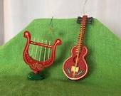Musical Instrument Ornament Set of 2 Vintage Ebeling Reuss Wooden Red Painted Christmas Decor Guitar Harp