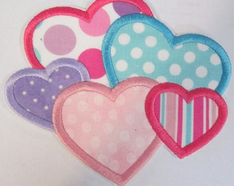 Iron On Applique - Valentine Day Cluster of Hearts