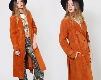 Vintage 70s Suede Coat Maxi Leather Jacket BELTED Boho Jacket Hippie Jacket