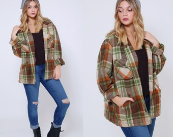 Vintage 60s WOOL Plaid Jacket DEACON BROTHERS Jacket Men's Plaid Hipster Jacket