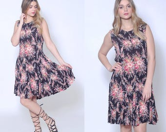 Vintage 90s GRUNGE Floral Dress Black FLORAL Sundress 80s Mini Dress Boho Dress CRINKLE Rayon Dress