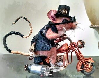 Stevi Ts 2017 Ernie's Steampunk Biker Mouse Magnet featuring a photo of OOAK Needle Felt Sculpture Ltd Edition collectable