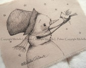 Larger Size Original Pen Ink on Fabric Illustration Quilt Label by Michelle Palmer Snowman Cardinal Winter Meadow Friends Holly Starry Night