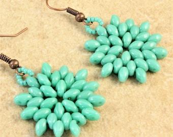 Turquoise Twin Bead Flower Starburst Woven Earrings on Antique Copper Ear Wire