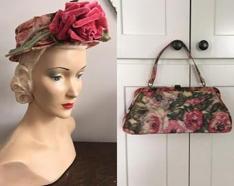 Vintage 1950s Watered Silk like Fabric Pink Roses Purse and Matching Millinery Hat