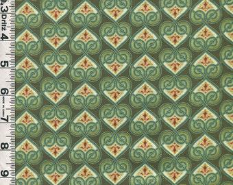 Fabric In the Beginning DECO ELEGANCE Jason Yenter design Hearts green metallic gold Art Deco style 4JYE 1M
