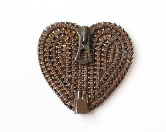 Talon Chocolate Vintage Zipper Brooch - Reuse - Repurpose - Recycle - Zipperedheart