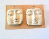 Stoneware Tumbleweed Fired Clay Face Findings Pair