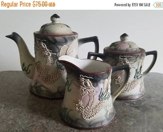 SPRING CLEANING SALE Antique Nippon Japan Satsuma Moriage Dragonware hand painted porcelain ceramic lidded sugar, creamer and lidded tea pot