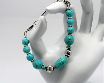 Sale ~ Beaded Medical ID Bracelet, for your Medic Alert Tag, Replacement Bracelet Strand for id tag, Turquoise and Bali Silver