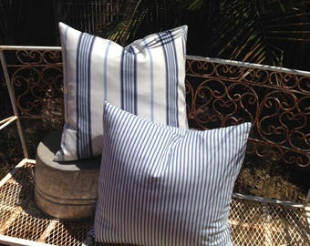 Beachy Set of Two Blue and White Stripe Canvas Pillow Covers Coastal / Beach / Lake House / Farmhouse / Nautical / Cottage