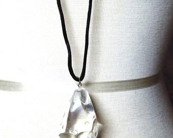 Imitation Clear Large Pendant on Black Cord Vintage Necklace